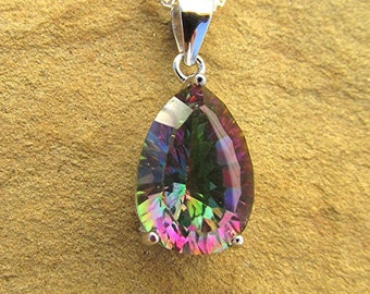 Mystic topaz pendant necklace mystic topaz necklace sterling silver box chain necklace 925 pear cut mystic topaz gemstone necklace gifts.