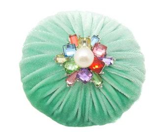 "4"" Mint Green Emery Pincushion / Pin Cushion _ Keep your needles clean and sharp"