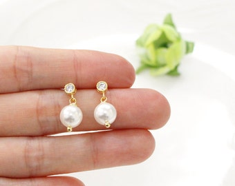 white pearl earring, Swarovski Pearl earring , Bridesmaid gifts, wedding earrings