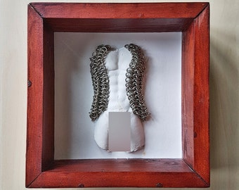ADULT MATURE Billy wooden box with torso with chainmail, gay interest, decorative box, male