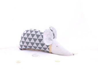 Modern deco, geometric, triangle, scandinavian design, grey, white, organic lavender, sachet, mouse, gift for her, gift for him, home decor