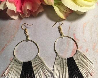 Gold Hoop Earrings with Feathery Tassel Fringe