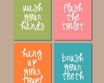 "Printable Bathroom Art, Kids Bathroom, Bathroom Art, Wash Flush Brush Signs, Bathroom Wall Art, Bathroom Decor INSTANT DOWNLOAD 8""x10"""
