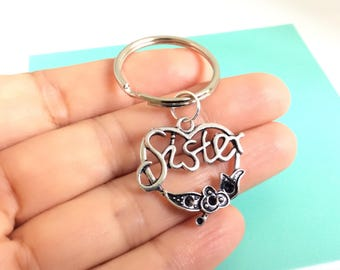 Sister Keychain, Sister Heart Charm, Christmas Gift for Sister, Personalized Gift, Silver Keychain, Gift under 15
