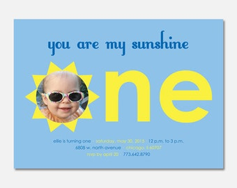 You Are My Sunshine Birthday Party Invitation, Sunshine Birthday, First Birthday, Custom Invitation, Printable Invitation, Flying Pinwheel