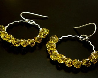 SUNFIRE ~ Golden Citrine, Sterling Silver Hoop  Earrings