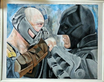 Hand paintes bane vs Batman 16x20 framed art