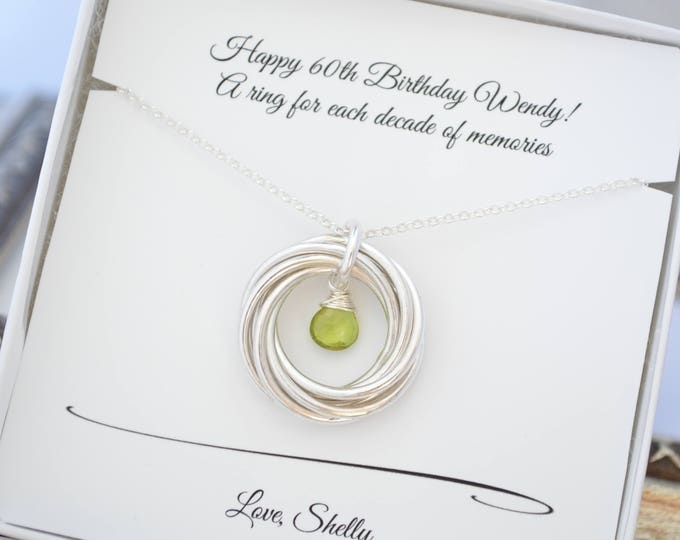 60th Birthday gift for mom and grandma, 6th Anniversary gift for wife, August birthstone, Peridot birthstone necklace, 60th Birthday for her