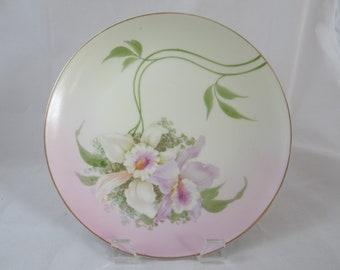 1880s Vintage Hand Painted Bavarian ZSC Zeh Scherzer & Co Pink Flower Plate - Stunning - Wall Decor
