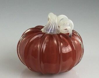 """4"""" Glass Pumpkin by Jonathan Winfisky -Retro Opaque Red- Hand Blown Glass"""