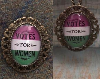 Votes for Women Suffragette Brooch / Necklace