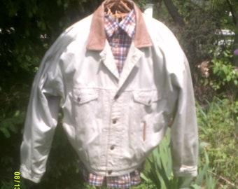 Men's Vintage Gap Khaki Jacket with Leather Collar and Trim, size Lg., Men's Fall Jacket Lg, Men's Cotton Jacket