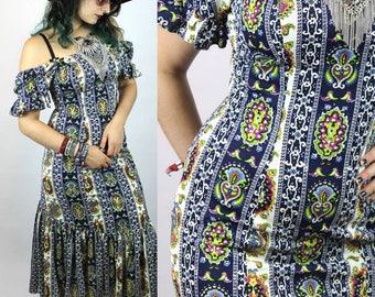 "Vintage 70′s Hawaiian MAXI DRESS ""ETHNO"" – S | Hippie Boho Folk Festival Gypsy Bunt Print Kleid"
