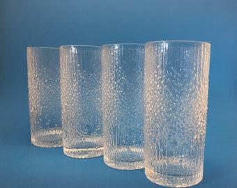 IIttala Hopla Highball Glasses Tapio Wirkkala, Set of 4 Iittala Finland Glass Hard to Find