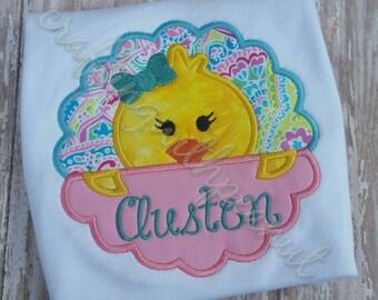 Easter shirt, peeking chick, personalized easter shirt, embroidered easter shirt,  easter applique, chicks, girls easter shirt