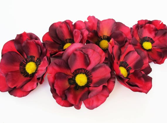 Dark red 24 poppies 45 silk artificial flowers silk poppy flower dark red 24 poppies 45 silk artificial flowers silk poppy flower floral hair accessories diy wedding anemones supplies fake anemone from flowersfield on mightylinksfo