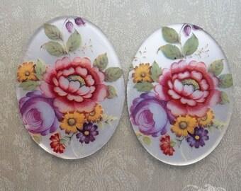 Vintage Glass Cabochons 30x40 mm Matte Mirrored Floral Bouquet (choose 1 pc or 2 pc)