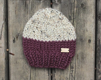 Purple and Heathered oatmeal colorblock chunky knit baby hat