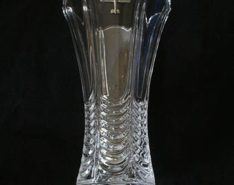 Biplane Flower Vase Cut Crystal Glass Military Gift