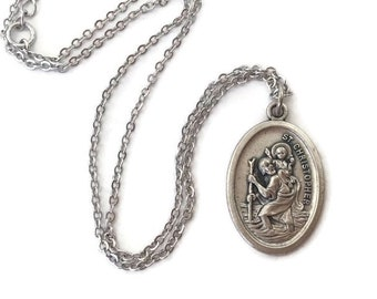 St Christopher Medal Necklace Saint Christopher Medal Automobile Travel Protection Charm Protect Us Italy Pendant Religious Jewelry Gift