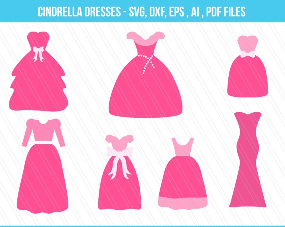 Princess dress svg, Wedding dress SVG, Cinderella Dress ,DXF, Dress ...