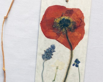 Red Ranuncula pressed flower bookmark
