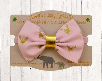 Fabric Bow Headband, Fabric Bow Clip-on ||  Pink Fabric Bow with Gold Metallic Buck and Pink Sparkle Elastic Band or Clip Mounted