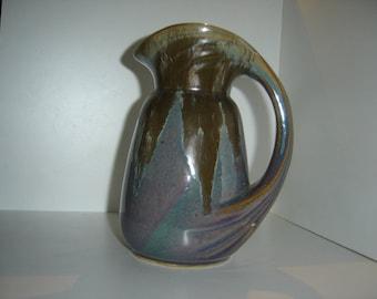 French DENBAC Glazed Pottery Pitcher Art Nouveau