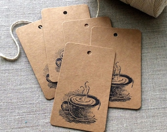20 Coffee Gift tags, cappuccino gift tags, coffee cup gift tags, etsy shop supplies, bridal shower favors, gift wrap