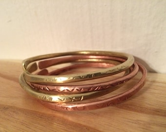 Set of 5 Solid Copper ONLY Textured Bangles