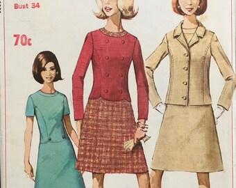 VINTAGE Simplicity 1960's  7064 - Dress & Jacket  Vintage Simplicity Sewing Pattern 7064  Size 14 unusual scalloped waistline