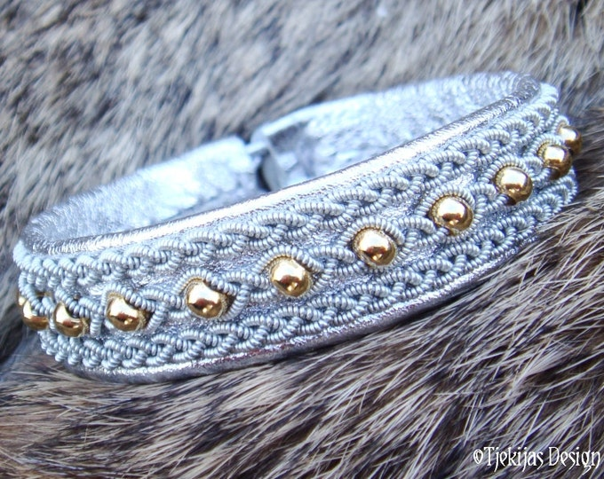 YDUN Lapland Beauty Reindeer Bracelet with 14K Gold filled Beads braided into Spun Pewter on Silver Leather