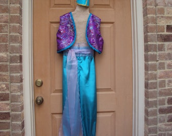 Genie costume, Aladdin, child size 10, pants, vest, sash, hairpiece--only one costume like this