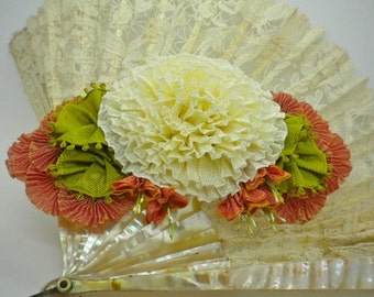 Yummy Cream And Melon Ribbon Flower Millinery Applique