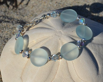 Sea foam coin and Swarovski crystal bracelet