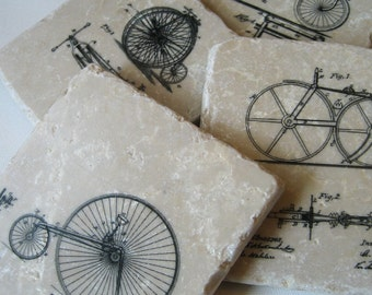 Bicycle Coasters - stone coasters - set of 4
