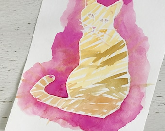 Original Watercolor and gouache painting of an orange cat