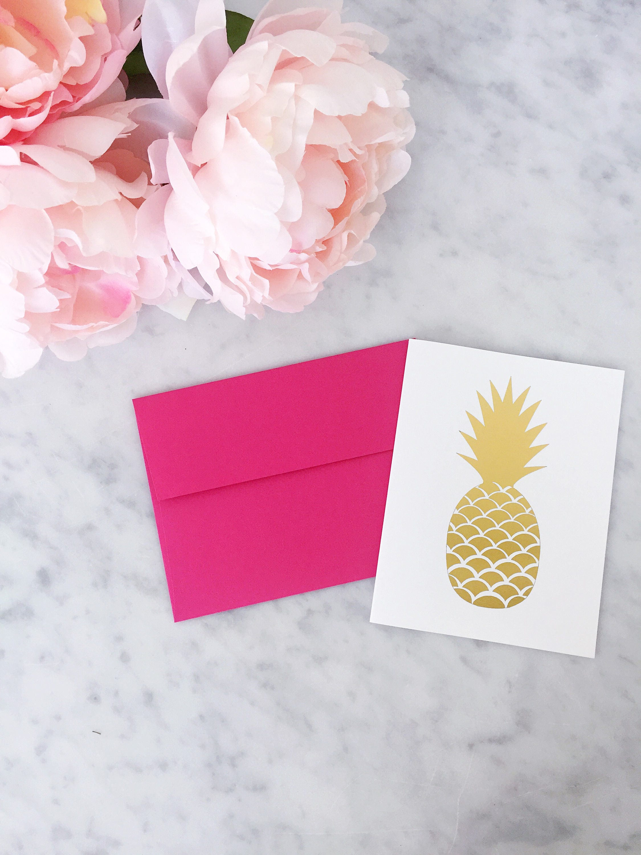 Gold Foil Pineapple Card Gold Foil Card Calligraphy Foil