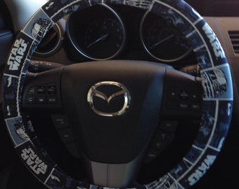 Blue Star Wars Steering Wheel Cover featuring Darth Vader, Luke Skywalker and C-3PO