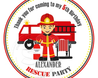"Custom Fireman Birthday Printable 2.5"" Tags- Firemen Party D.I.Y Thank you Tags- Personalized Stickers (You Print) 2.5"" tags-Digital file"