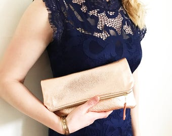 Rose Gold Leather Fold Over Clutch