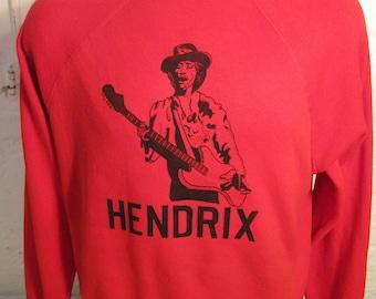 Size L (48) ** 1980s Jimi Hendrix Sweatshirt Hoodie (Single Sided)