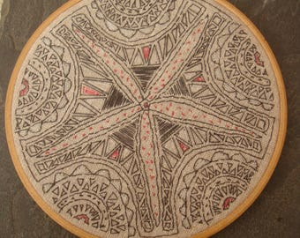 Mandala hand embroidery hoop. Mandala inspired hand stitched wall decoration. Mandala decoration gift. Embroidery hoop for wall decoration.