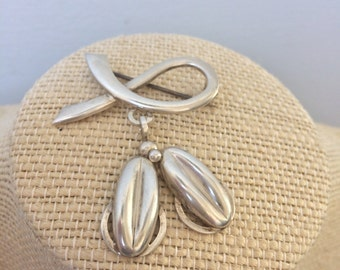 Sterling Silver  Coffee Bean pin