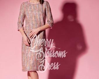 Pink dress/ boucle dress/ Midi dress/ Mid length dress/ Tea length dress/ Long sleeve dress/ Plus size dress/ Spring dress/ 064.221