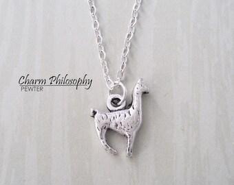 Llama Necklace - Alpaca Necklace - Antique Silver Jewelry - Llama Charm