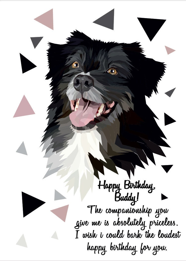 Dog Greeting Card Birthday Card Fathers Day Gift