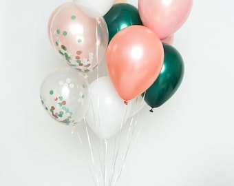 Ballon confettis Set - émeraude Rose - Blush, rose, Or Rose, blanc, émeraude et claire confettis ballons - ballons Party Chic
