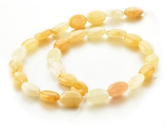 Yellow Jade Gemstone Flat Oval Beads 10*14mm Beads for DIY Jewelry Making
