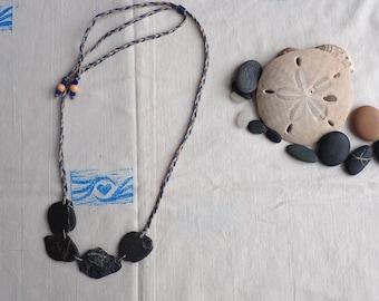 natural beach stone necklace, eco-friendly cluster necklace, ocean pebble bib necklace, boho necklace, macramé adjustable necklace